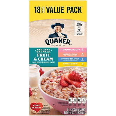 Quaker Fruit & Cream Instant Oatmeal Variety - 18ct