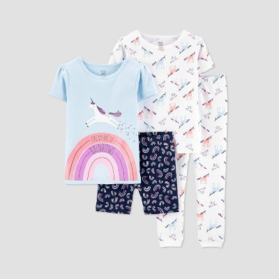 Baby Girls' 4pc Unicorn Pajama Set - Just One You® made by carter's Blue 12M
