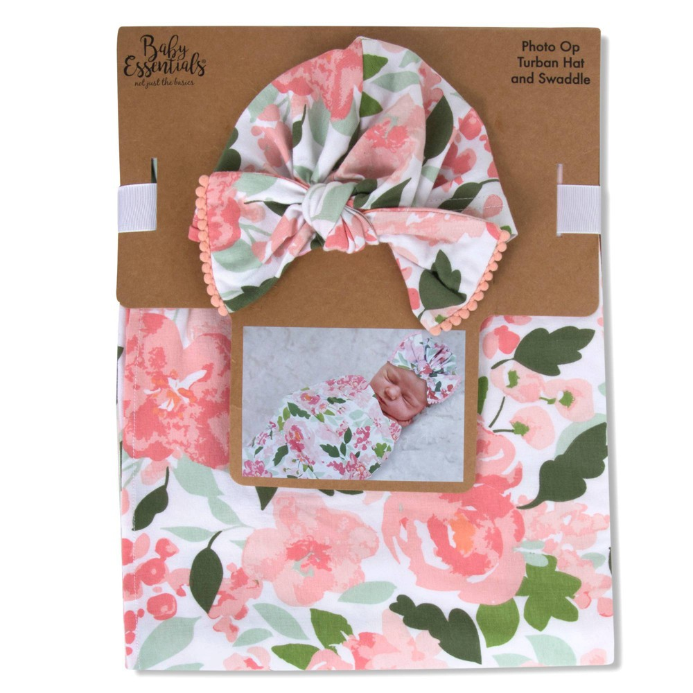 Image of Baby Essentials Rose Floral Swaddle Blanket with Turban Cap