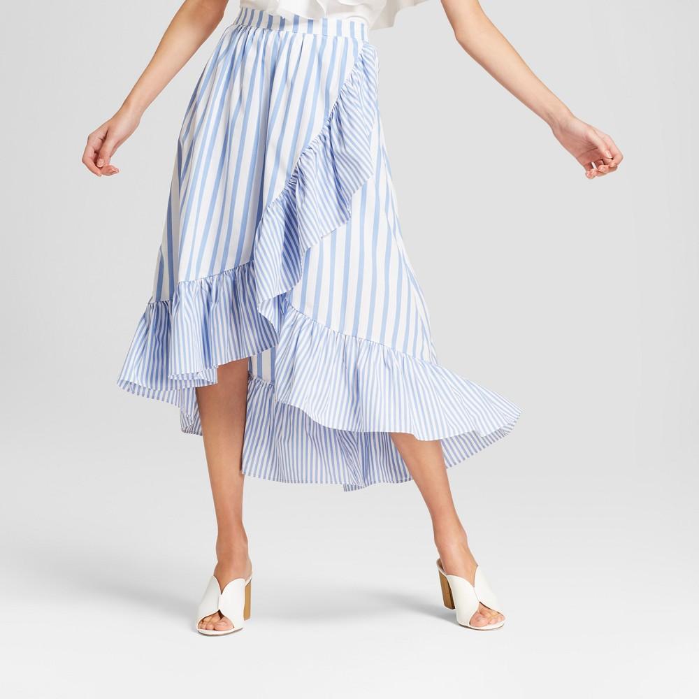 Women's Striped Ruffle Wrap Midi Skirt - Who What Wear Blue XS, Blue Stripe
