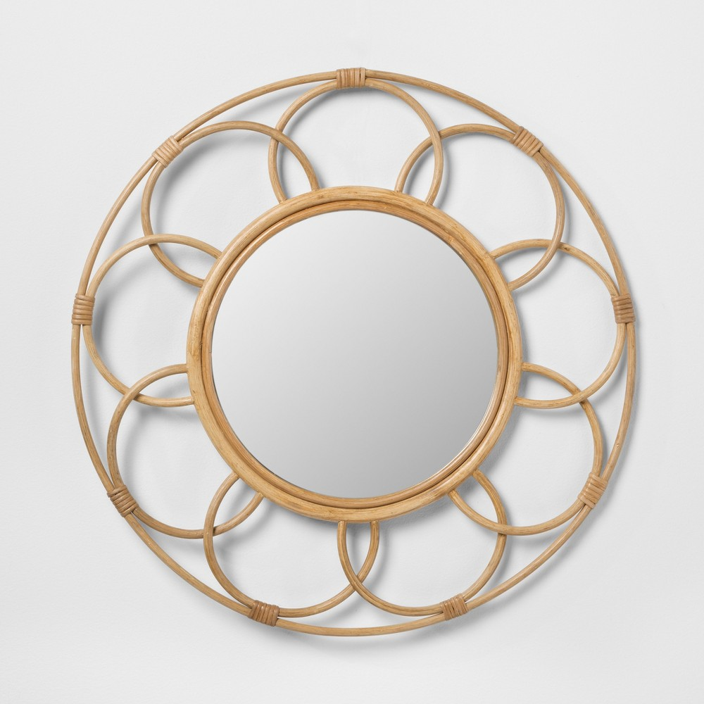 Round Rattan Mirror with Scalloped Border - Opalhouse