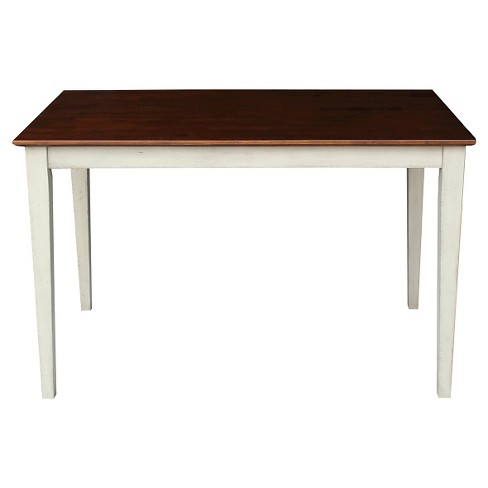 Solid Wood Top Table Shaker Legs Wood/Antiqued Almond & Espresso - International Concepts - image 1 of 1