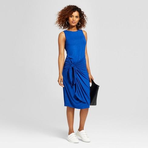 27d6acd23c Women's Sleeveless Asymmetrical Waist Wrap Midi Dress - Alison Andrews Blue  S