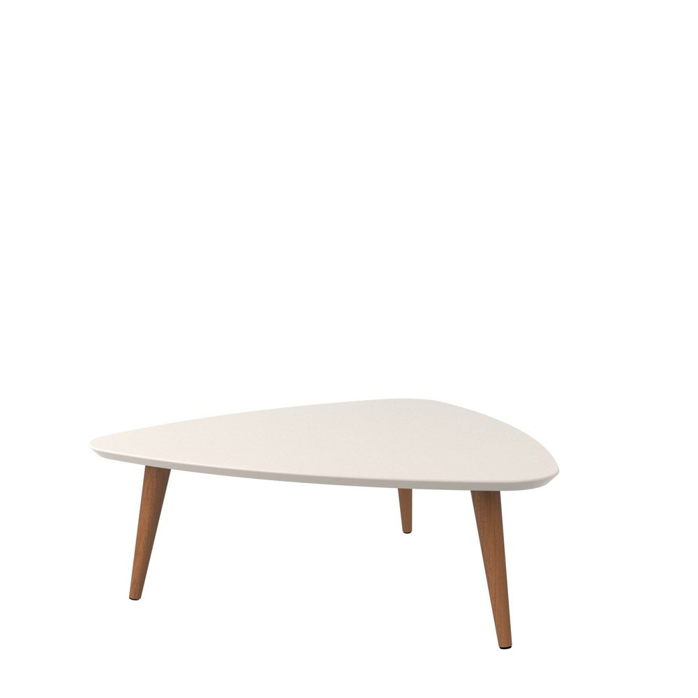 """Image of """"11.81"""""""" Utopia High Triangle Coffee Table with Splayed Legs Off-White - Manhattan Comfort, Beige"""""""