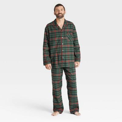 Men's Tartan Plaid 2pc Pajama Set Dark Green/Red - Hearth & Hand™ with Magnolia