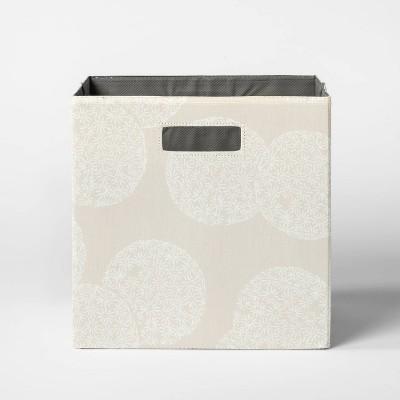"""13"""" Fabric Cube Storage Bin Floral Pattern Beige - Threshold™"""