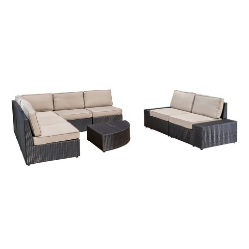 Santa Cruz 8pc Wicker Sectional with Water Resistant Cushions - Christopher Knight Home - image 1 of 4