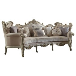 Fabric Upholstered Wooden Sofa with Eight Pillows White - Benzara