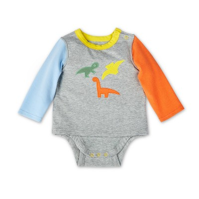 Baby Adaptive Dino Embroidered Color Block Long Sleeve Bodysuit - Christian Robinson x Target Gray