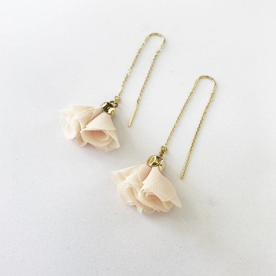 Sanctuary Project Pink Rose Threader Flower Drop Earrings Gold