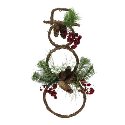"""Melrose 23.5"""" Brown and Red Grapevine Snowman Pine Needles Christmas Decor"""