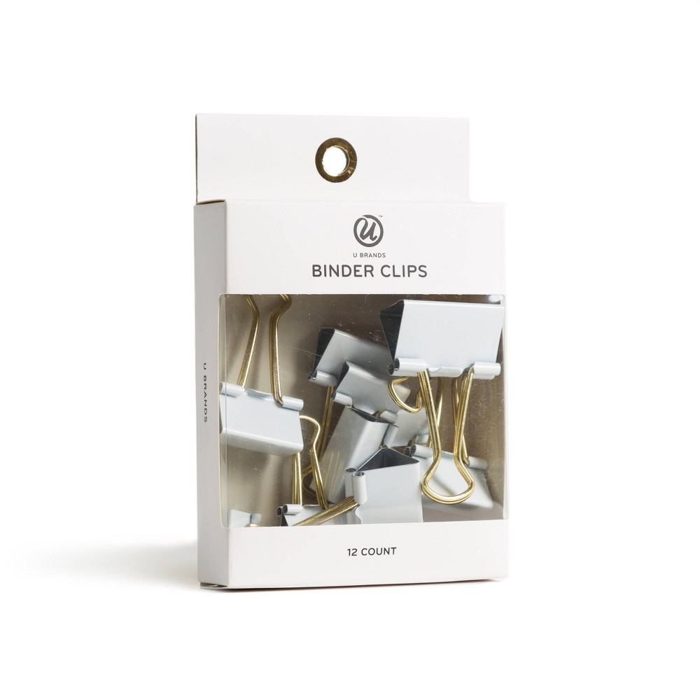 Image of 12ct Binder Clips White - UBrands, White Gold