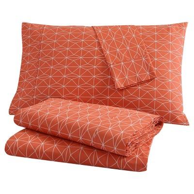 Geometric Sheet Set (King)4pc Orange - Clairebella™