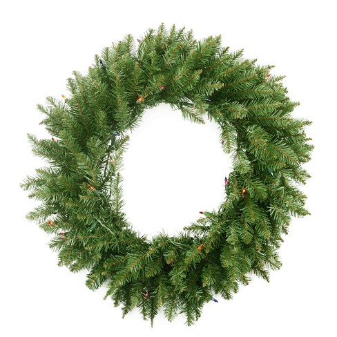 "Northlight 24"" Prelit Northern Pine Artificial Christmas Wreath - Multi Color - image 1 of 2"