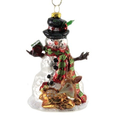 """Holiday Ornament 5.5"""" Snowman With Deer Christmas Red Bird  -  Tree Ornaments"""