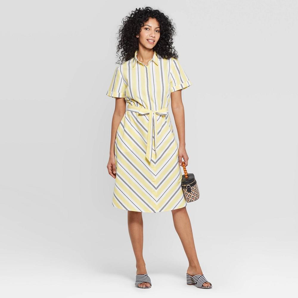 Women's Striped Short Sleeve Cotton Shirtdress - A New Day Yellow M, Yellow White