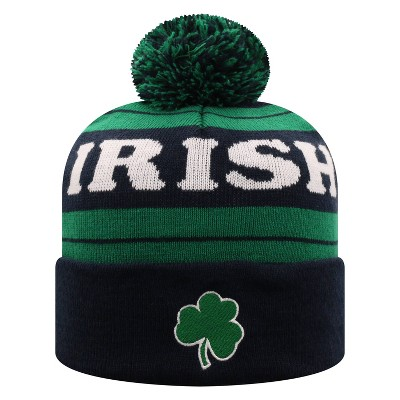 NCAA Notre Dame Fighting Irish Men's Black Knit Cuffed Beanie with Pom