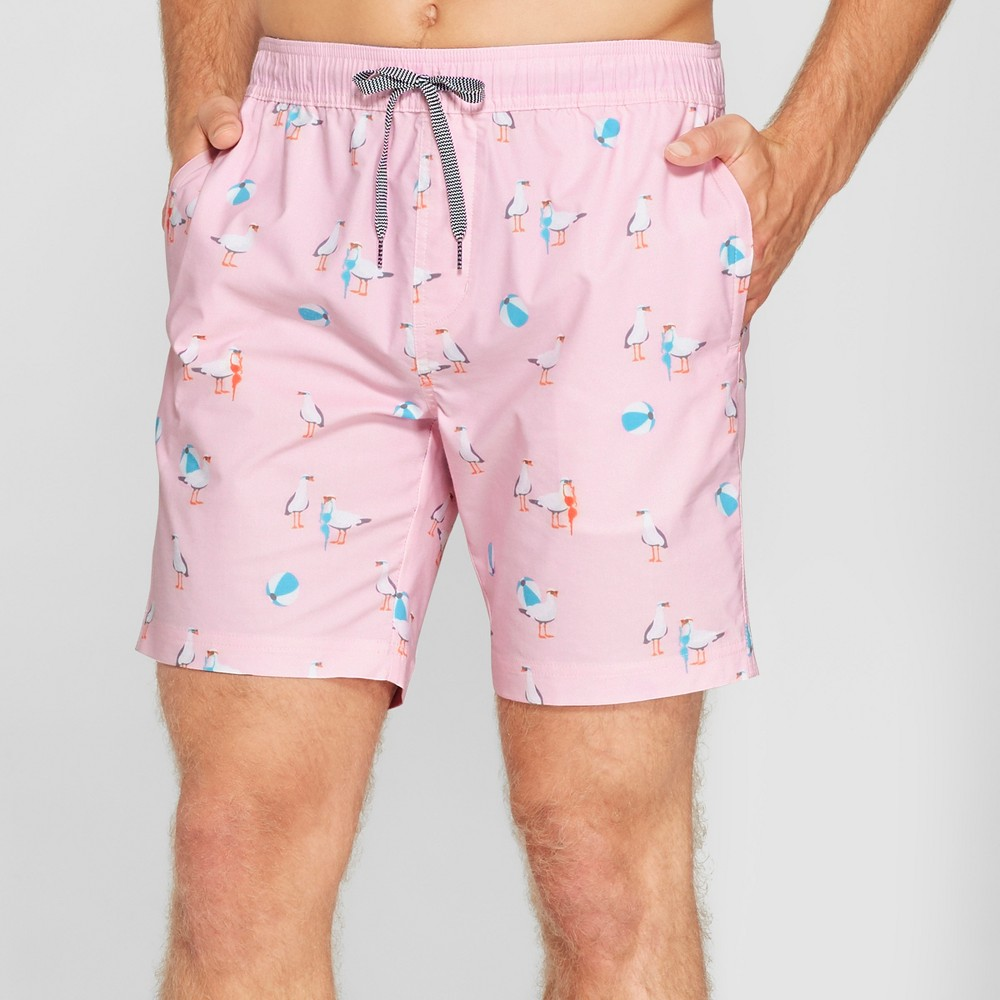 Trinity Collective Men's Striped 7.5 Duck Patterned Elastic Waist Board Shorts - Pink M