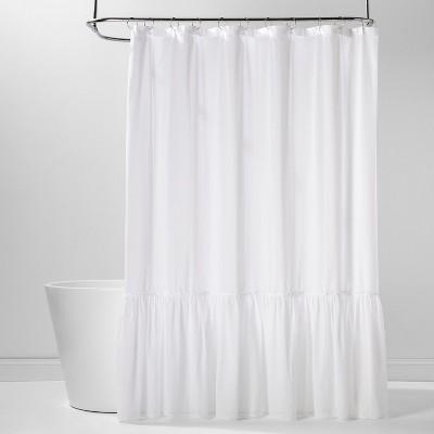 Panelled Border Ruffle Shower Curtain White - Threshold™