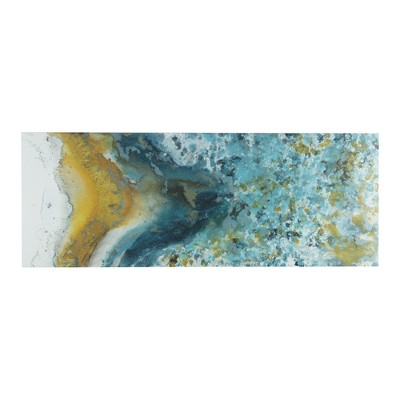 "48"" x 18"" Shattering Rock Yellow Heavy Gel Coated Canvas Blue"