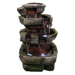 """24"""" Tiered Stone Outdoor Waterfall Fountain with LED Lights - Sunnydaze Decor"""