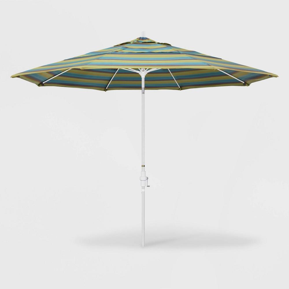 11' Sun Master Patio Umbrella Collar Tilt Crank Lift - Sunbrella Astoria Lagoon - California Umbrella