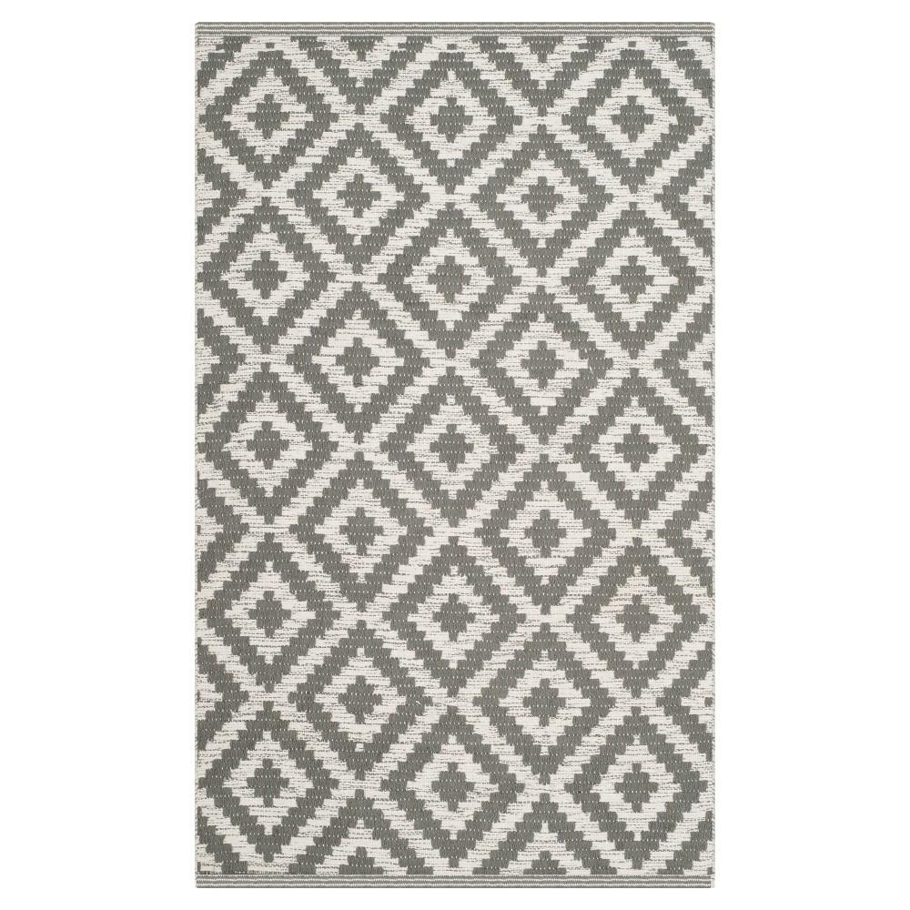Gray/Ivory Geometric Woven Accent Rug 3'X5' - Safavieh