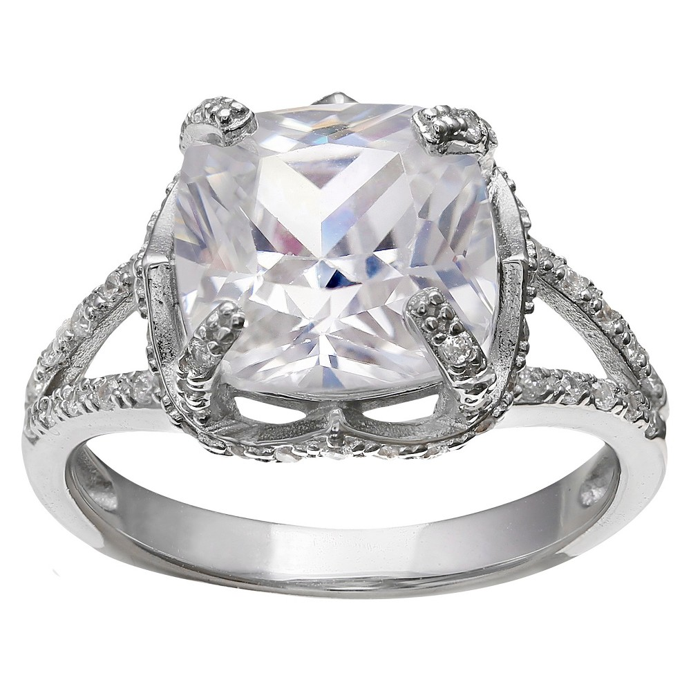 Women's Cushion Cubic Zirconia Ring in Sterling Silver (7)