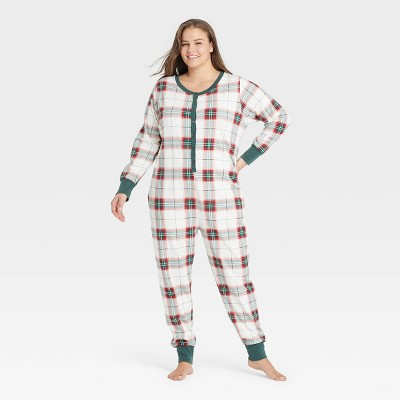 Women's Holiday Plaid Union Suit Red/Green - Hearth & Hand™ with Magnolia