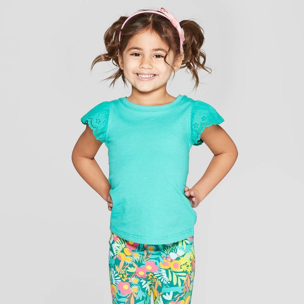 Toddler Girls' Cap Sleeve T-Shirt - Cat & Jack Green 5T