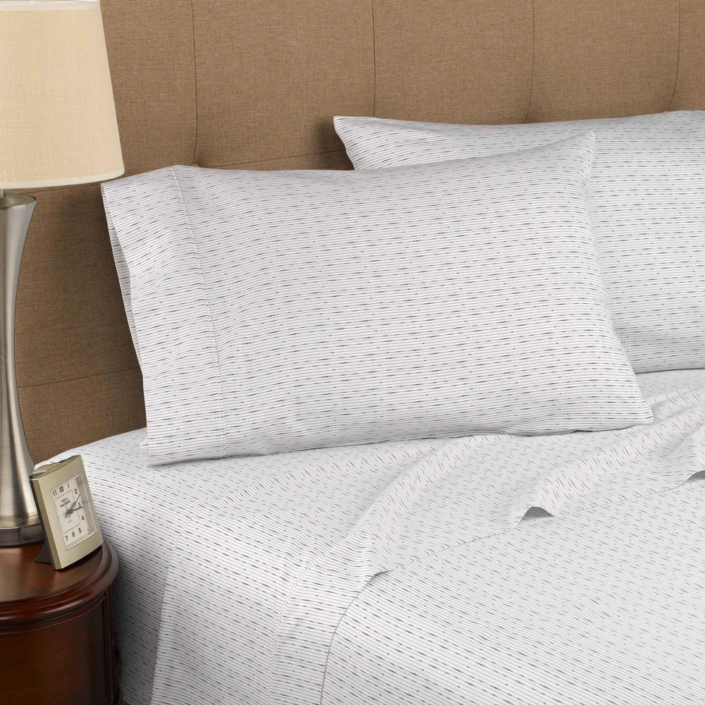 King 300 Thread Count Organic Cotton Printed Sheet Set Dotted Line Modern Living