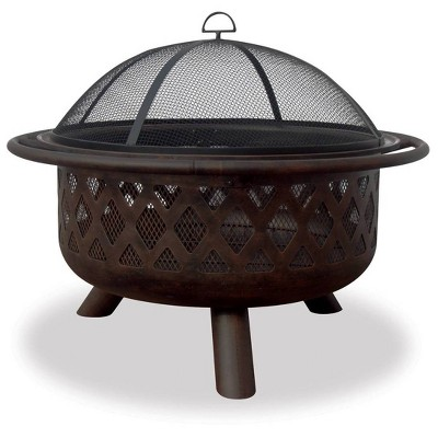Oil Rubbed Bronze Outdoor Wood Burning Rounded Firebowl with Lattice Design - Endless Summer