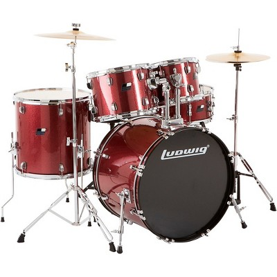 Ludwig Backbeat Complete 5-Piece Drum Set with Hardware and Cymbals Wine Red Sparkle