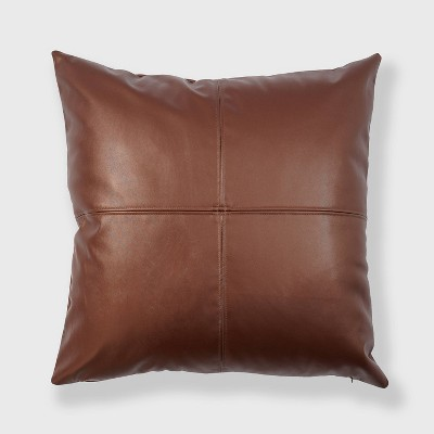 """24""""x24"""" Oversized Square Vegan Leather Patchwork Throw Pillow Brown - freshmint"""
