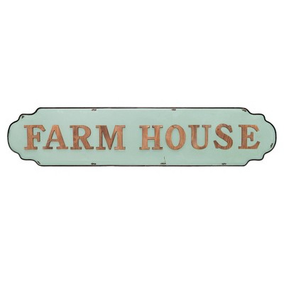 Farmhouse Antique Tin Enamel Wall Sign Brown/Mint Green - Patton Wall Decor