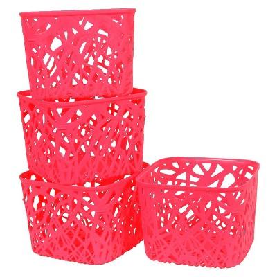 Room Essentials™ Branch Weave Storage Bin Set Of 4   Luminous Coral Small :  Target