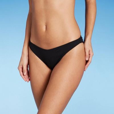 Women's Ribbed High Leg Extra Cheeky Bikini Bottom - Shade & Shore™ Black