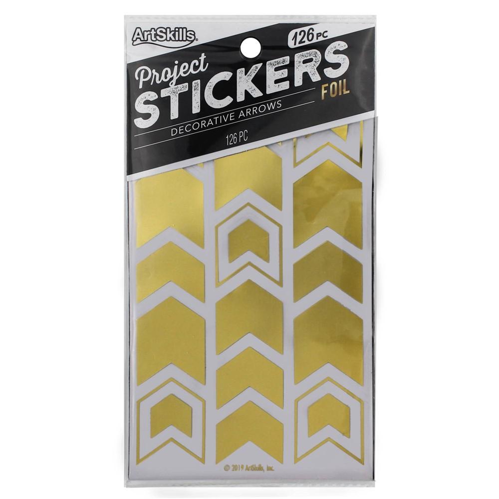 Image of ArtSkills 126ct Peel & Stick Foil Decorative Arrows - Gold Metallic