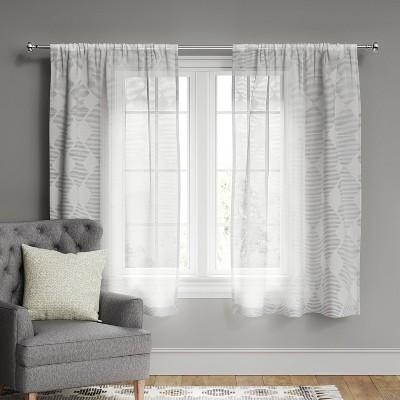 "63""x54"" Kuba Clipped Sheer Curtain Panel Gray - Threshold™"