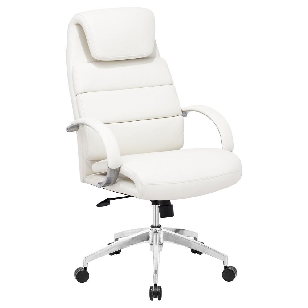 Adjustable Upholstered Ergonomic Office Chair - White - ZM Home