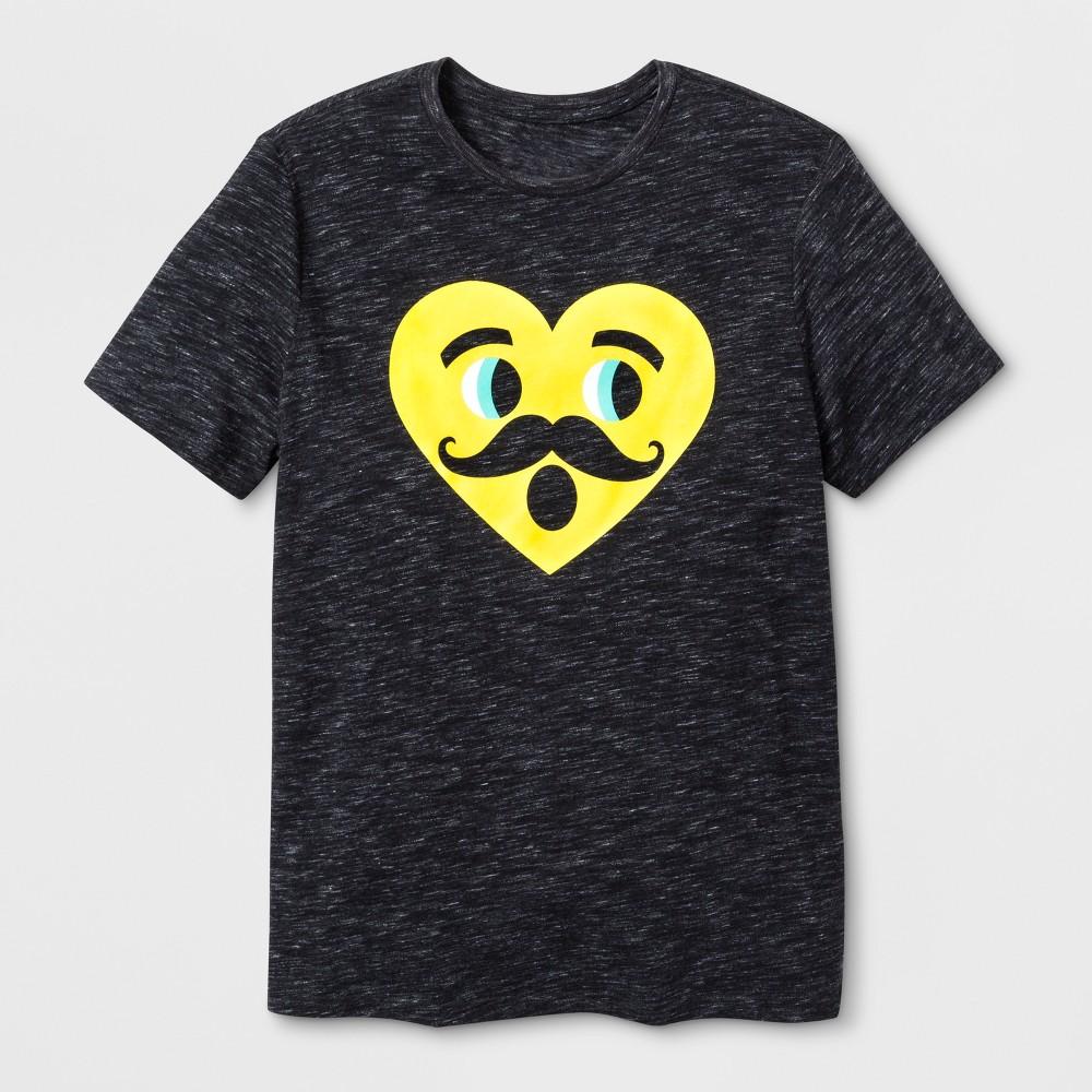 Men's Short Sleeve Emoji T-Shirt - Black L