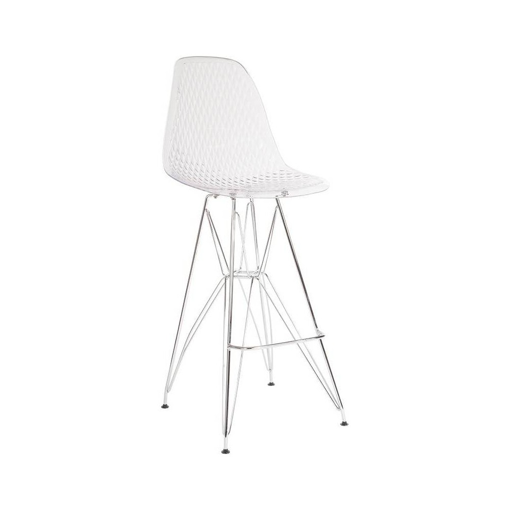 "Image of ""30.25"""" High Barstool with Chrome Legs Clear - Riverstone Furniture Collection"""