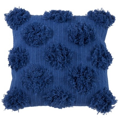 "18""x18"" Pom-Pom Poly Filled Throw Pillow Cobalt Blue - Saro Lifestyle"