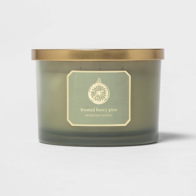 15oz Glass Jar 3-Wick Frosted Berry Pine Candle - Threshold™
