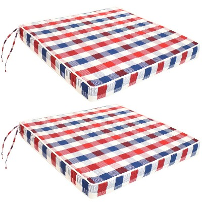 """Sunnydaze Square Indoor/Outdoor Seat Cushions with Ties - 17 Square x 2"""" Thick - Americano - 2-Pack"""""""