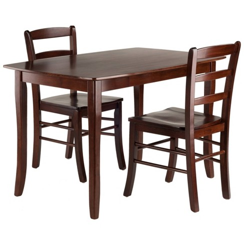 3pc Inglewood Dining Table With 2 Ladderback Chairs Walnut - Winsome - image 1 of 4