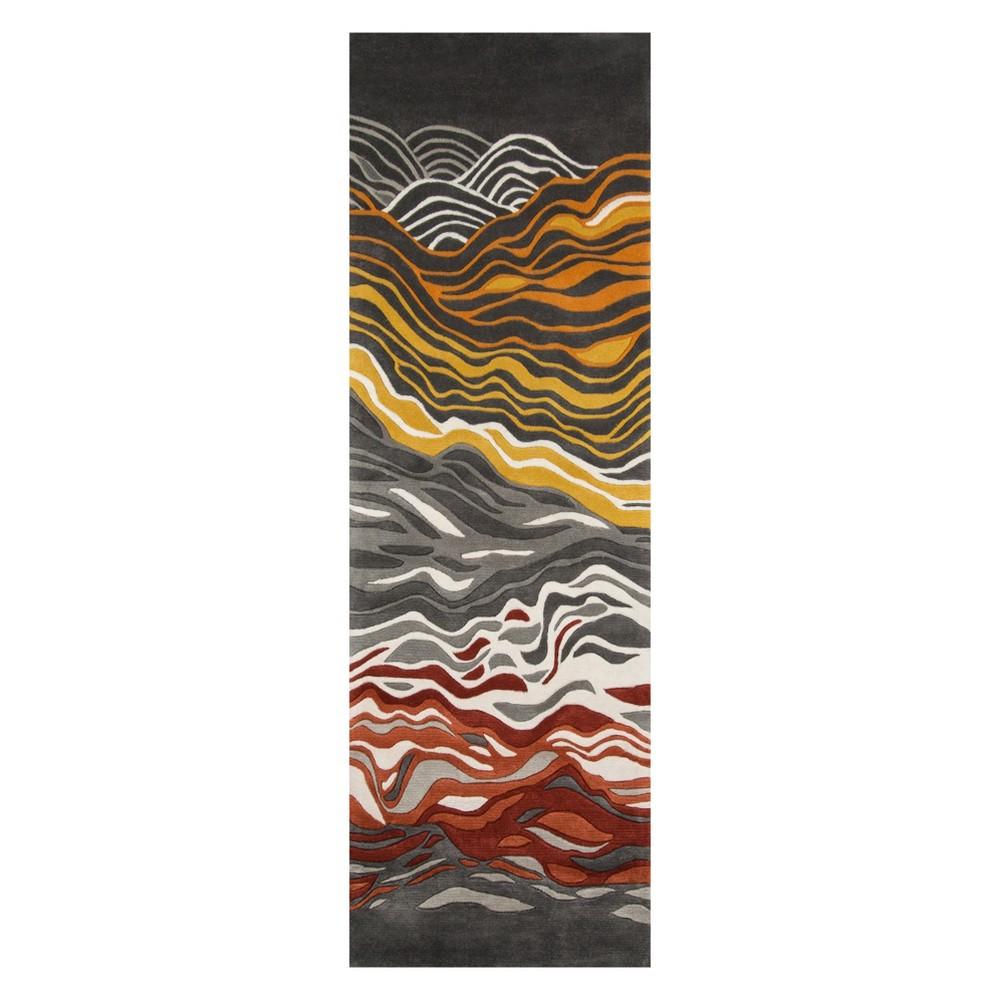2'6X12' Wave Tufted Runner Gray - Momeni