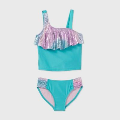 Girls' Shiny Flounce Asymmetrical Shoulder Tankini Set - Cat & Jack™ Turquoise