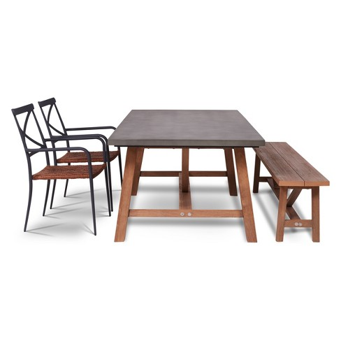 4pc Amalfi Outdoor Dining Set With Cement Tabletop Gray Thy Hom