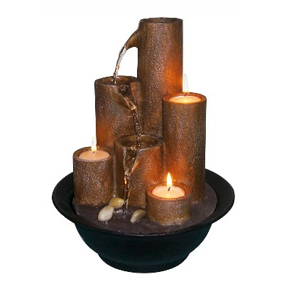 Alpine Corporation 11  Tiered Column Tabletop Fountain With Three Candles - Multi Color